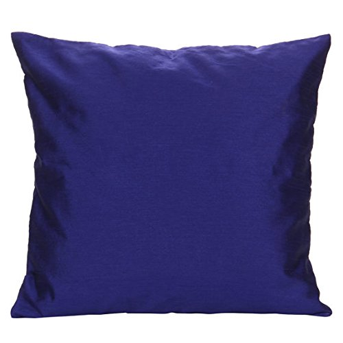 The White Petals Set of 2 Indigo Blue Art Silk Pillow Covers, Plain Silk Cushion Cover, Solid Co ...