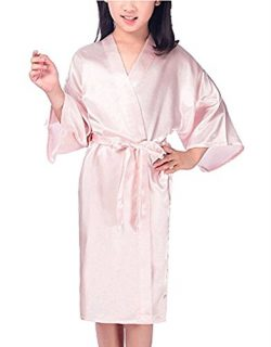 Zaaale Kids Girls Satin Silk Kimono Robe Bathrobe Nightgown Bridesmaid Sleepwear for Spa Party W ...