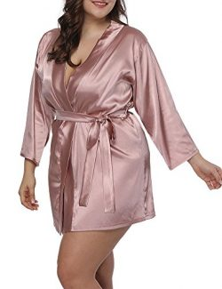Allegrace Women Plus Size Satin Wrap Front Kimono Robes Short Pajamas with Belt Pink 4X