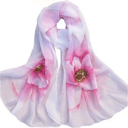Wensltd Clearance Women Soft Thin Chiffon Silk Scarf Flower printed Scarves Wrap Shawl (Pink)