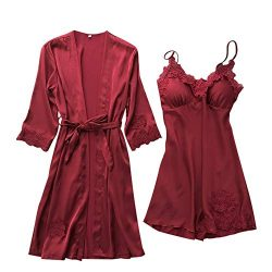 Mlide Women Sexy Silk Lace Pajamas Nightdress Kimono Cardigan Robe Two-Piece Set, Babydoll Sleep ...