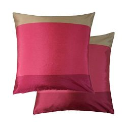 2 X PINK RED CREAM BEIGE STRIPE STRIPED FAUX SILK THROW PILLOW SCATTER CUSHION COVERS TO MATCH D ...