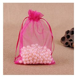 MELUOGE 100pcs 6X9 Inches Organza Drawstring Jewelry Pouches Bags Party Wedding Favor Gift Bags  ...