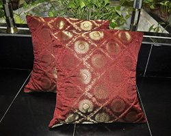 Lalhaveli Mandala Design Red Silk Cushion Cover Pair Bedroom Pillowcase 16 Inch
