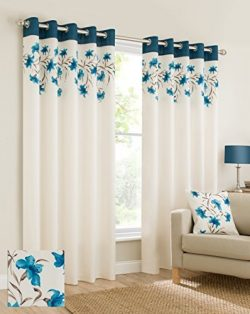 Plain faux silk look eyelet ring top teal blue cream brown fully lined curtains lily flowers flo ...