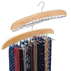 EZOWare [2-Pack] Belt Hangers, Adjustable 24 Tie Belt Scarf Racks Holder Hook Hanger for Closet  ...
