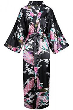 BABEYOND Women's Kimono Robe Long Robes with Peacock and Blossoms Printed Kimono Outfit (B ...