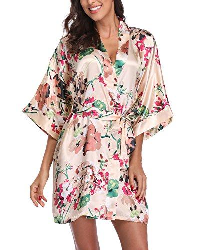 Laurel Snow Women's Satin Floral Kimono Robe Short