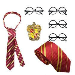 Delphinus Costume Accessories, Striped Tie Polyester Silk Tie with Novelty Glasses & College ...