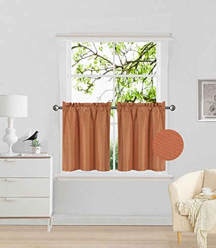GorgeousHomeLinen (RS5) 2 Panels Drape Rod Pocket Faux Silk Small Short Window Treatment Curtain ...