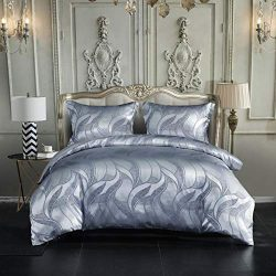 DuShow Satin Silk Queen Duvet Cover Sets Jacquard Patterns Bedding Cover Set 3 PCS (1 Duvet Cove ...