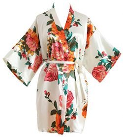 Peony Floral Silk Kimono Robe Bridal Bridesmaid Robes Dressing Gown for Women White