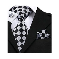 Barry.Wang Classic Ties for Men Geometric Plaid Necktie Set