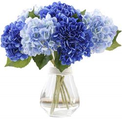 LNHOMY Artificial Silk Flowers French Fake Beautiful Hydrangea Bunch Bouquet Flower for Home Wed ...