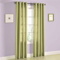 Gorgeous Home (MIRA) 2 Panels Solid Grommet Faux Silk Window Curtain Drapes Treatment in 63&#824 ...