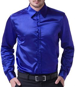 PJ PAUL JONES Men's Solid Color Shiny Satin Silk Like Dance Prom Dress Shirt(M,Royal Blue)