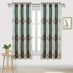 DWCN Floral Damask Jacquard Blackout Curtains – Faux Silk Room Darkening Thermal Insulated ...