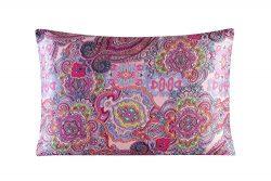 Silk Pillowcase for Hair and Skin with Hidden Zipper Print Standard Size (pattern2) Satin Underside