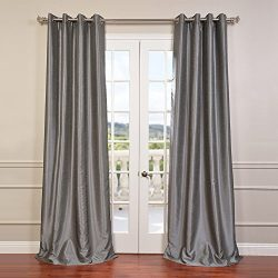 Half Price Drapes PDCH-KBS7-96-GRBO Grommet Blackout Vintage Textured Faux Dupioni Silk Curtain, ...