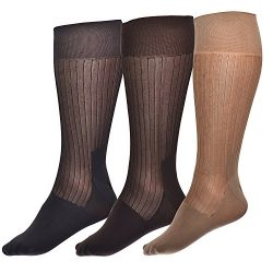 Mens Thin Socks Silk Sheer Trouser Sock Mid-Calf Cool For Summer 3 Packs (one size fits all, mix)