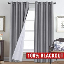 H.VERSAILTEX 100% Blackout Curtains 84 Inches Long for Nursery, Faux Silk Thermal Insulated Grey ...