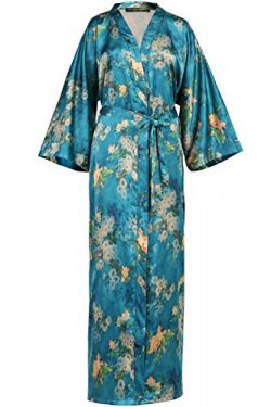 BABEYOND Womens Kimono Robe Long Floral Wedding Robes for Bridesmaids Satin Silk Kimono Nightgow ...