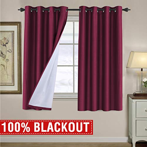 H.VERSAILTEX Complete 100% Blackout Faux Silk Curtains Thermal Insulated Waterproof for Small Wi ...