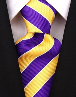 College Striped Ties for Men – Woven Necktie – Purple w/Yellow