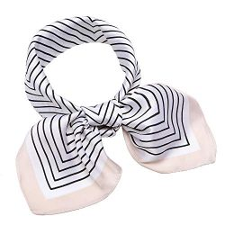 "Silk Like Scarf Square Satin Hair Scarf Fashion Maze Neck Scarfs for Women Beige 27"" x 27& ..."