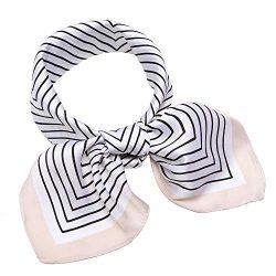 "Silk Like Scarf Square Satin Hair Scarf Fashion Maze Neck Scarfs for Women Beige 27"" x 27& ..."