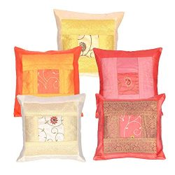 Ambika Designs 16X16 Indian Ethnic Bohemian Set of 5 Decorative Colorful Cotton Square for Sofa  ...