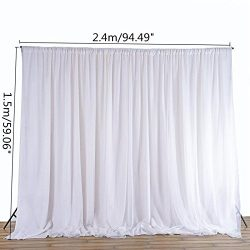 White Sheer Silk Cloth Drapes Panels Hanging Curtains Photo Backdrop Wedding Party Events DIY De ...