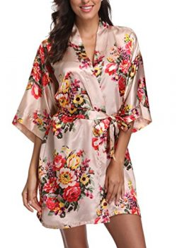 Laurel Snow Floral Satin Kimono Robes for Women Short Bridesmaid and Bride Robe for Wedding Part ...