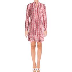 Tory Burch Womens Cora Floral Print Long Sleeves Shirtdress Red 10