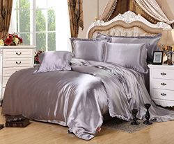 Lldaily 4-Piece Imitated Silk Fabric Duvet Cover Set,Luxury Bedding Sets,Silk Sheet Set with Ult ...