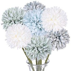 DearHouse Artificial Flowers, 7 Pcs Fake Flowers Silk Artificial Hydrangea Bridal Wedding Bouque ...