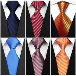 Wehug Lot 6 PCS Men's Solid Tie Silk Tie Woven Necktie Jacquard Neck Ties Classic Ties For ...