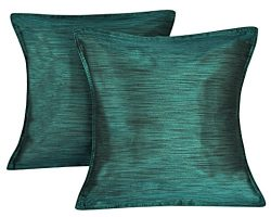 Lalhaveli Plain Couch Cushion Cover Silk Throw Pillowcase Green 16 x 16 Inches