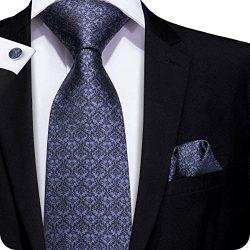 Hi-Tie Black Gray Tie Silk Tie for Men with Handkerchief Cufflinks Formal Tie New Design Pattern