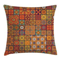 Ambesonne Moroccan Throw Pillow Cushion Cover, Collection of Moroccan Geometric Patterns Floral  ...