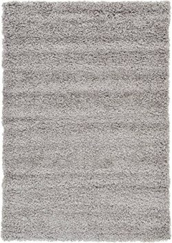 Unique Loom Solo Solid Shag Collection Modern Plush Cloud Gray Area Rug (4′ x 6′)
