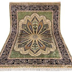 Yuchen 6×9 Green Modern Hand Knotted Persian Silk Rug Carpet for Living Room