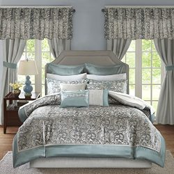 Madison Park Essentials Brystol Cal King Size Bed Comforter Set Room in A Bag – Teal, Grey ...