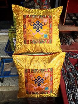 Tibetan silk brocade Cushion cover / Yellow Endless Knot pillow cover / Eternity Knot pillow cas ...