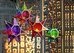 CraftVatika Metal Purple Glass Star Moroccan Style Lanterns | Hanging Tea Light Candle Holders f ...