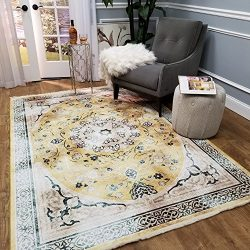 Maxy Home Serica Museum Quality Faux Silk 5'3″ X 7'7″ Yellow Medallion D ...