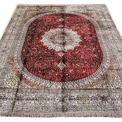 Yuchen 9×12 Red Handmade Kashan Persian Silk Rug for Living Room