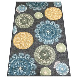 Silk & Sultans Agathe Collection Contemporary Medallion Design, Pet Friendly, Non-Slip Area  ...