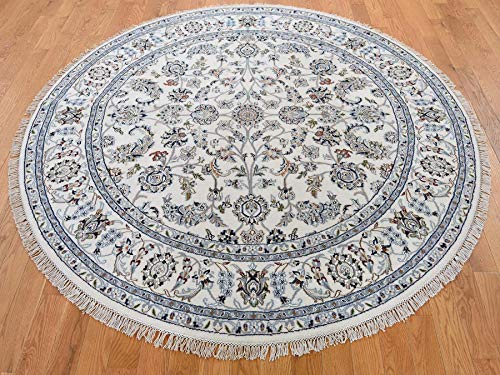6'x6′ Wool & Silk 250 KPSI All Over Design Round Nain Hand-Knotted Rug G43286