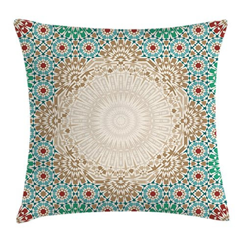 Ambesonne Moroccan Throw Pillow Cushion Cover, Ottoman Mosaic Art Pattern with Oriental Floral F ...